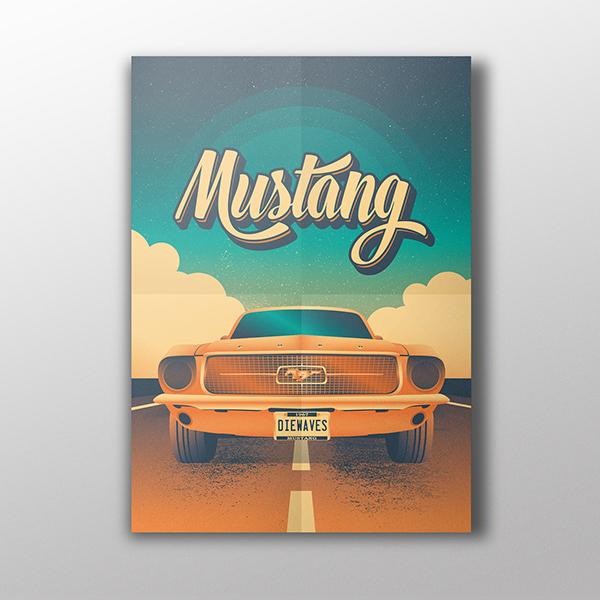 Póster serigrafiado | Mustang