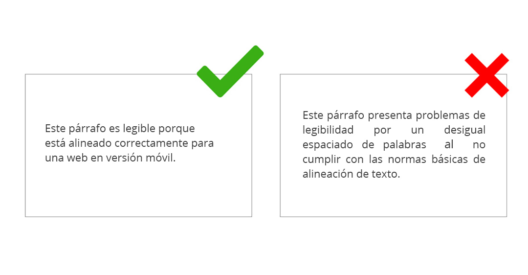Alineación de párrafos en móvil