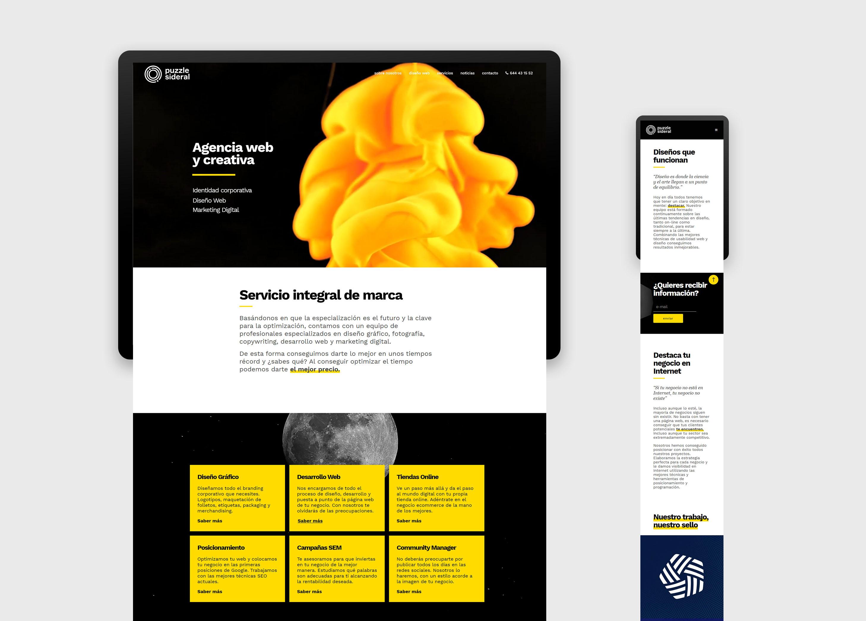 Maquetación Diseño Web Puzzle Sideral