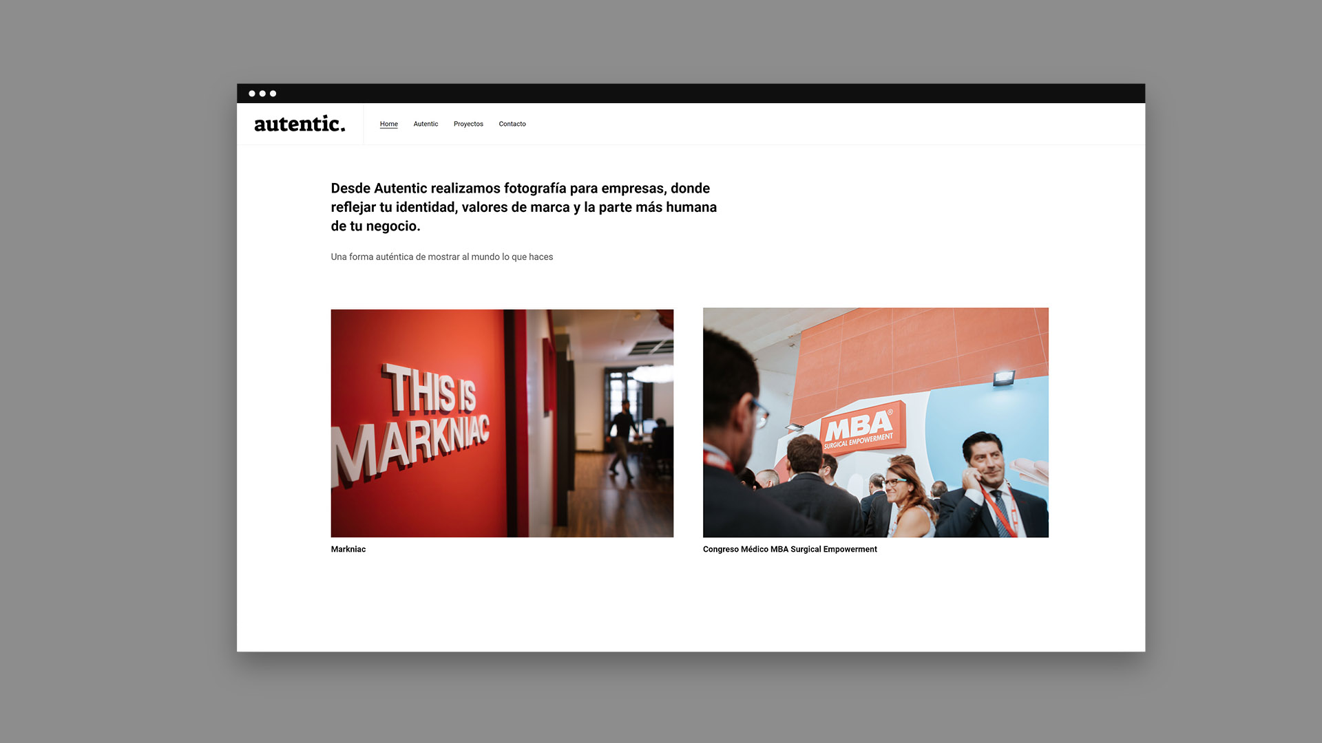 Diseño de portfolio web minimal